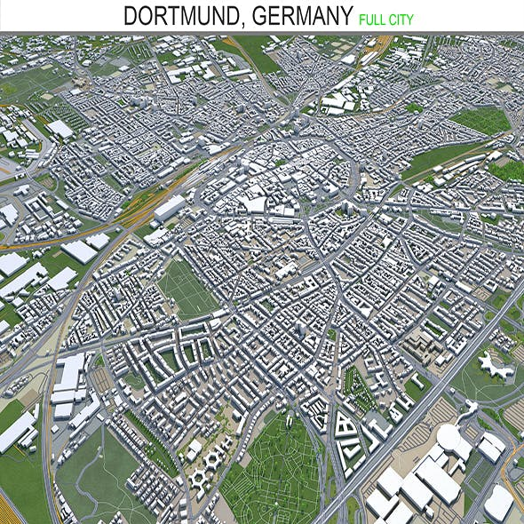 Dortmund city Germany 3d model 45 km