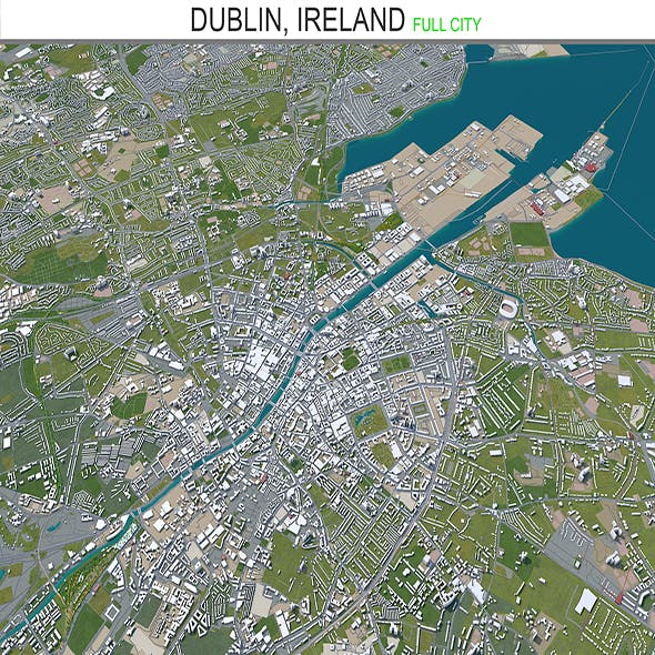 Dublin city Ireland 3d model 60Km