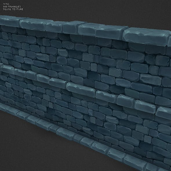 Low Poly Dungeon Stone Wall Segment
