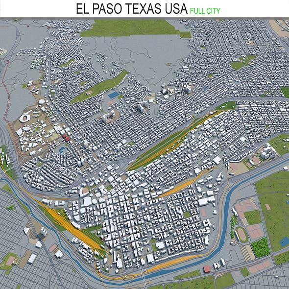 El Paso city Texas USA 3d model 60 km
