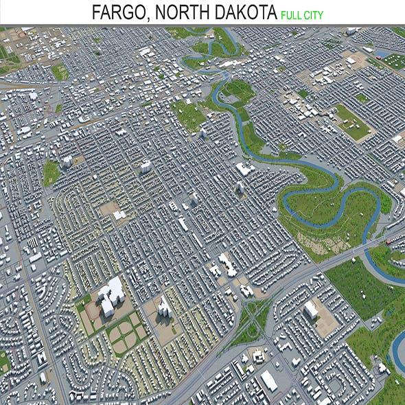 Fargo North city Dakota 3d model 40 km