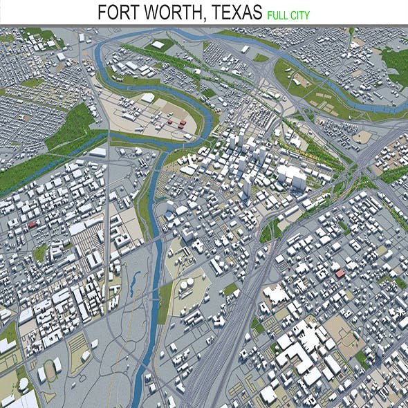 Fort worth city Texas 3d model 80km