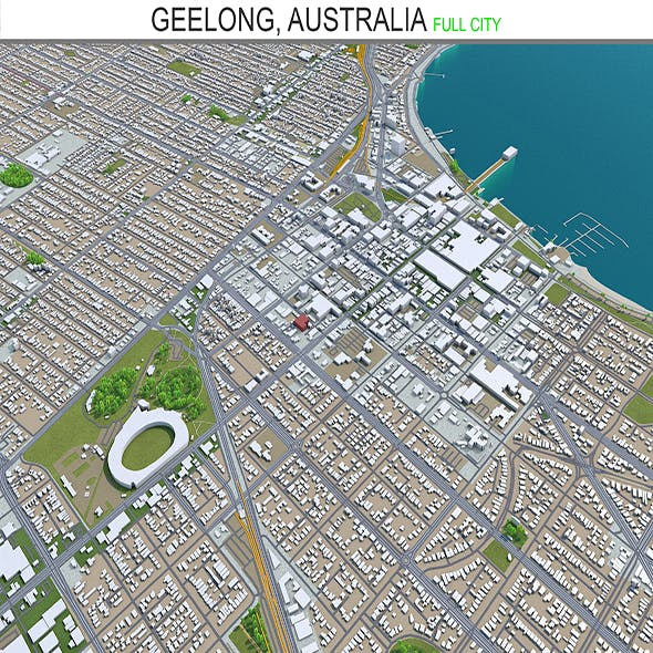 Geelong city Australia 3d model 30km