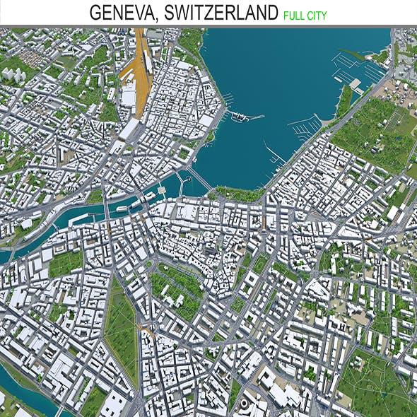 Geneva city Switzerland 3d model 20km - 3DOcean Item for Sale