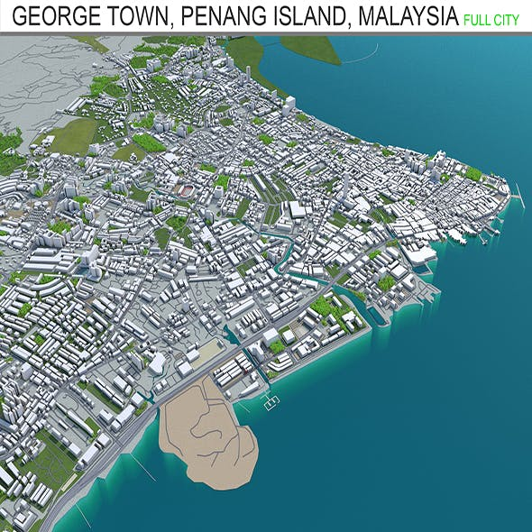 George Town, Penang Island city Malaysia 3d model  20km - 3DOcean Item for Sale