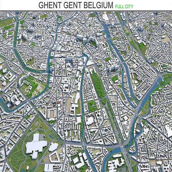 Ghent Gent city Belgium 3d model 40 km