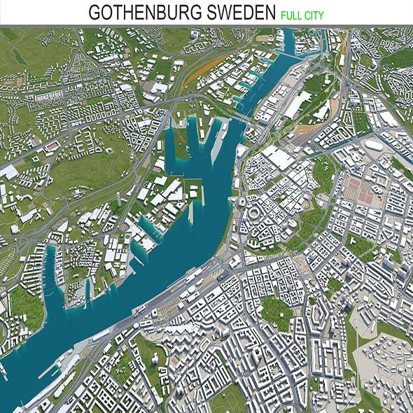 Gothenburg city Sweden 3d model 80km