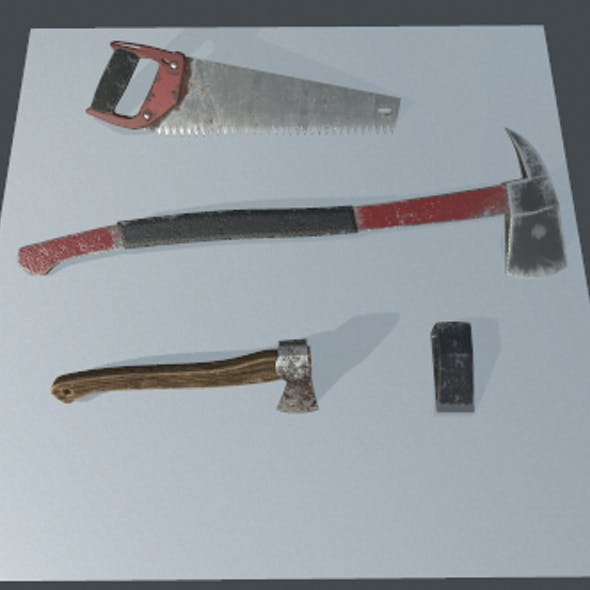 Axe, Battleaxe, blades, saw.(Set)