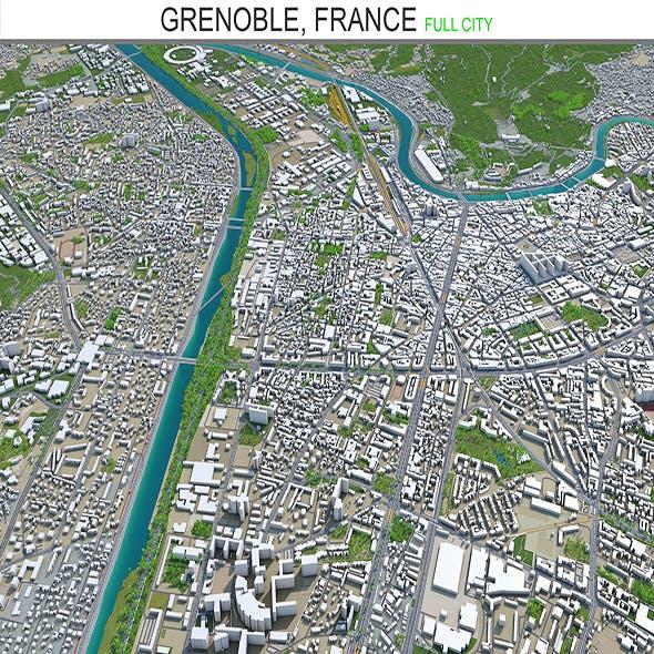 Grenoble city France 3d model 20 km - 3DOcean Item for Sale