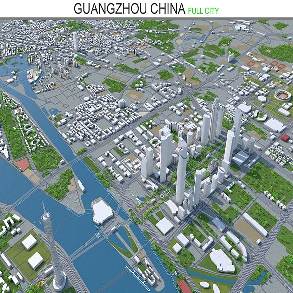 Guangzhou city China 3d model 150 km - 3DOcean Item for Sale
