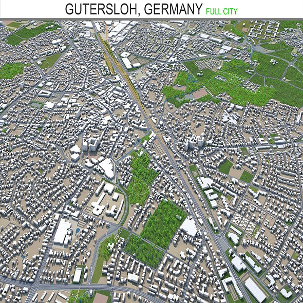 Gutersloh city Germany 3d model 30Km - 3DOcean Item for Sale