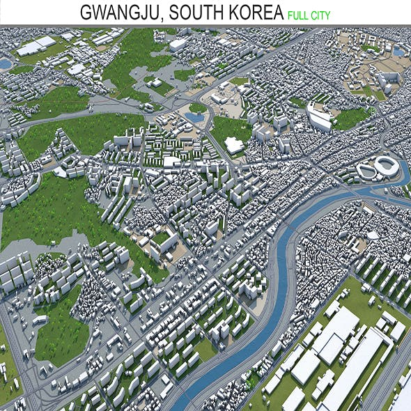 Gwangju South Korea city 3d model 45 km - 3DOcean Item for Sale
