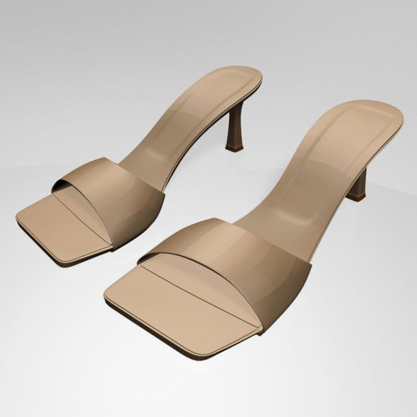 Square-Toe Spool-Heel Sandals 01 - 3DOcean Item for Sale