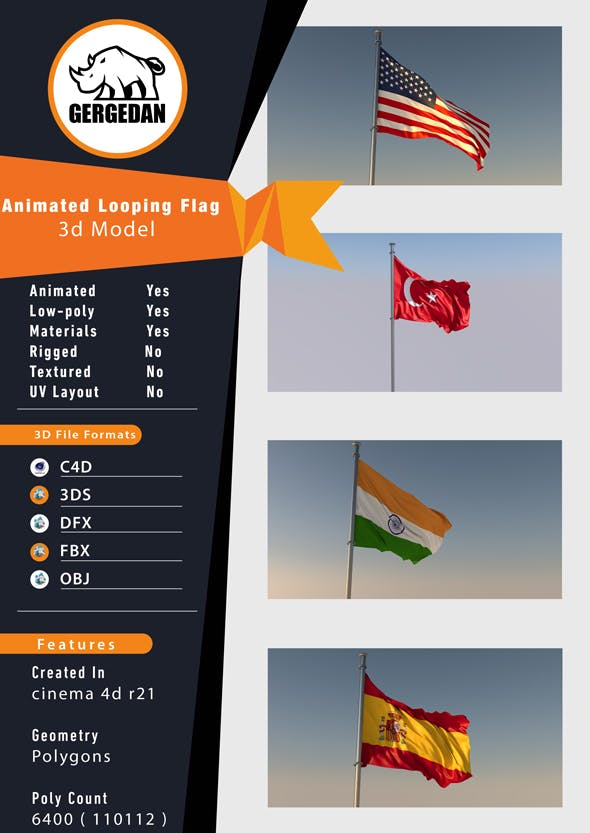 Animated Looping Flag (Realistic) - 3DOcean Item for Sale