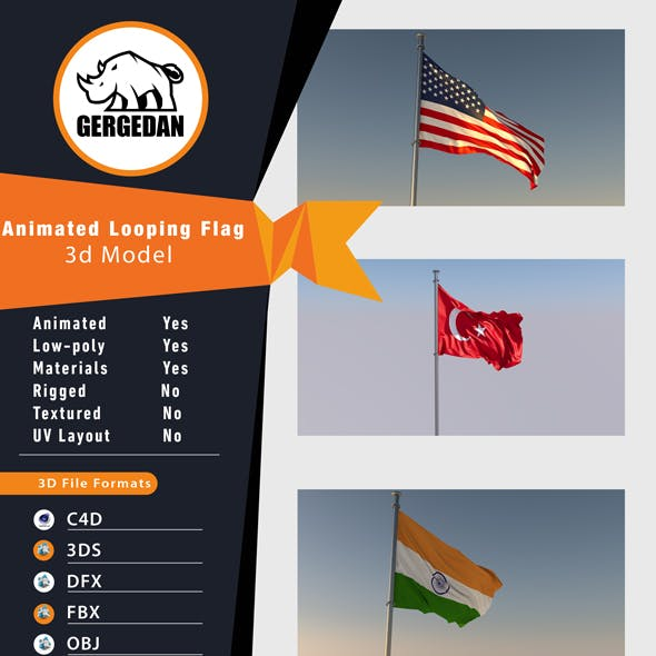 Animated Looping Flag (Realistic)