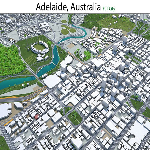 Adelaide city Australia 3d model 65km