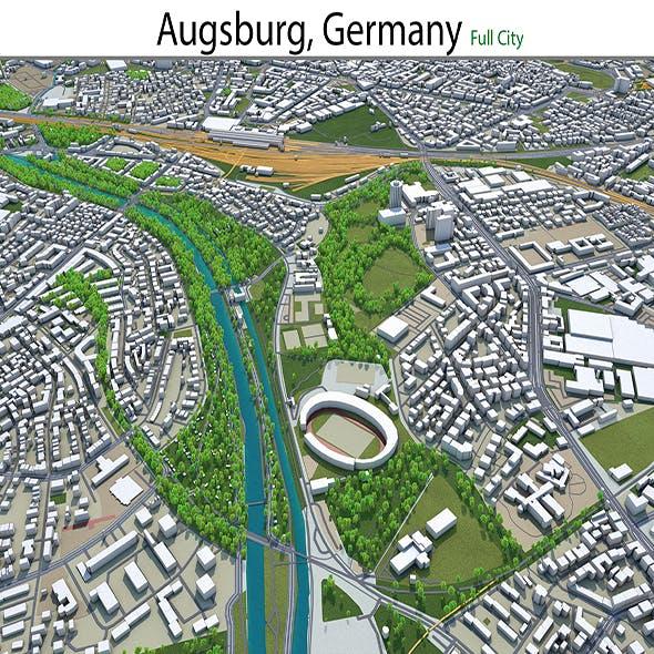 Augsburg city Germany 3d model 30km