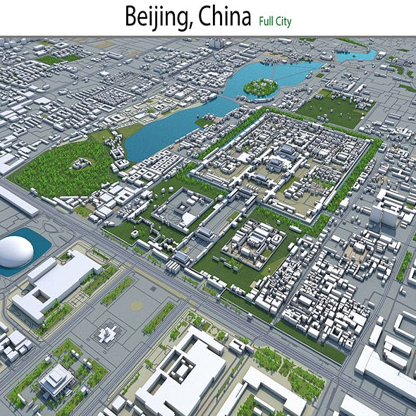 Beijing city China 3d model 120km