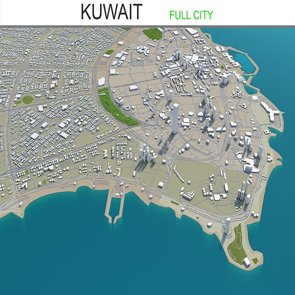 Kuwait city 3d model 220 km