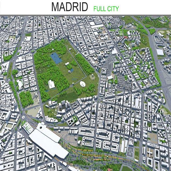 Madrid city Spain 3d model 80 km