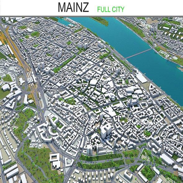 Mainz city Germany 3d model 40km