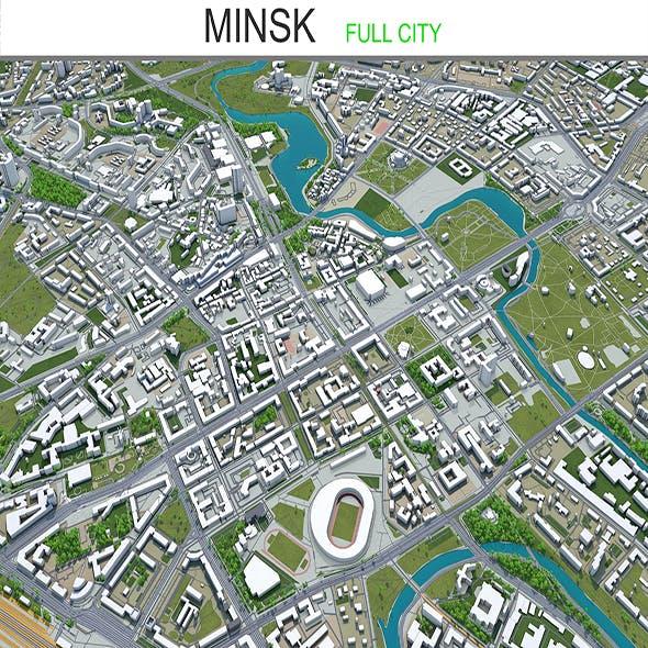 Minsk city Belarus 3d model 60km