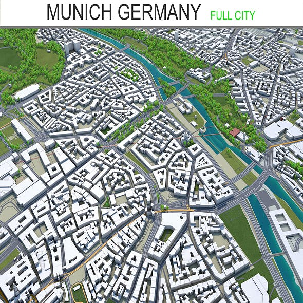 Munich city Germany 3d model 45 Km