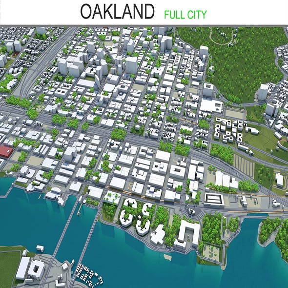 Oakland city California 3d model 50km