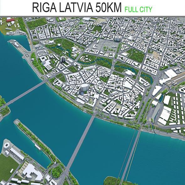 Riga Latvia city 3d model 50km