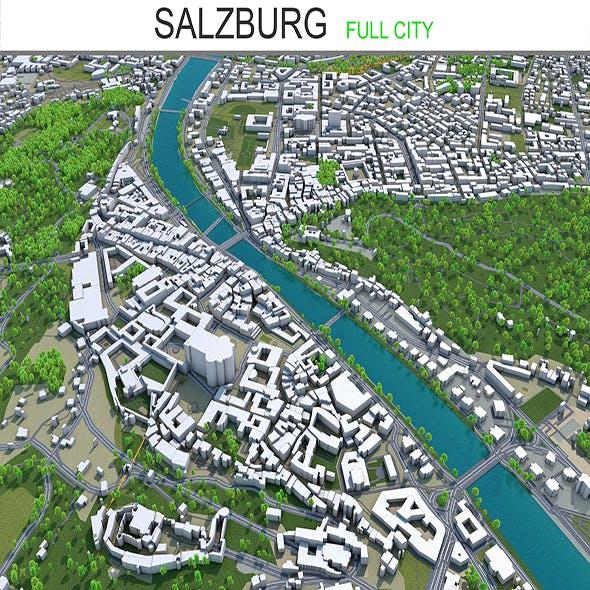 Salzburg city Austria 3d model 30km