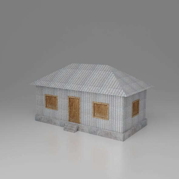 Lowpoly village tin house or home game asset