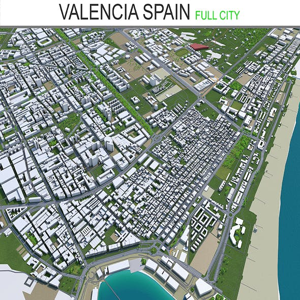 valencia city spain 3d model 70km