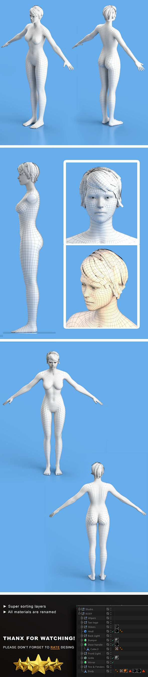 Base Character Female - 3DOcean Item for Sale