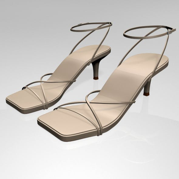 Square-Toe Strappy Stiletto Sandals 01 - 3DOcean Item for Sale