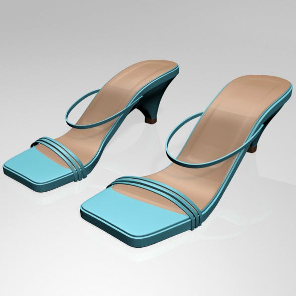 Square-Toe High-Heel Strappy Sandals 01 - 3DOcean Item for Sale