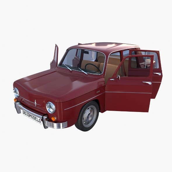 Renault 8 with interior Dark Red - 3DOcean Item for Sale