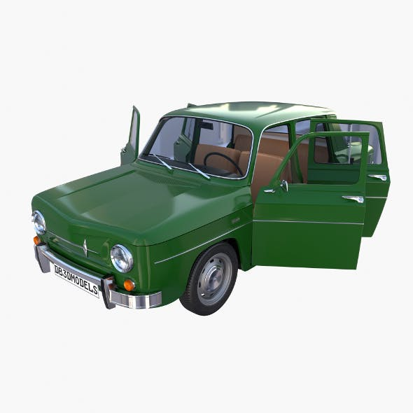Renault 8 with interior Green - 3DOcean Item for Sale