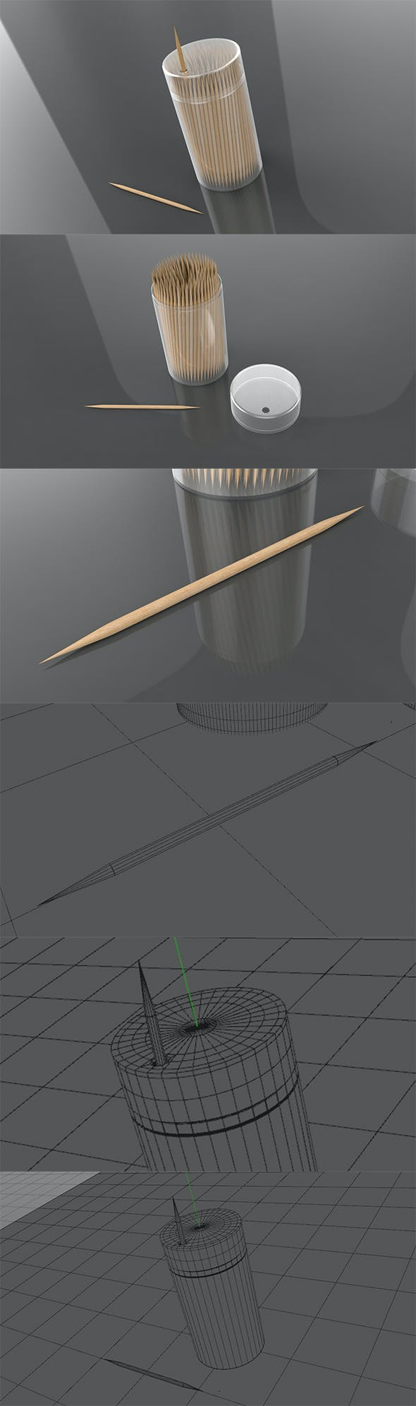 3D Double Pointed Toothpicks - 3DOcean Item for Sale