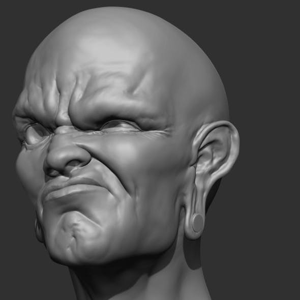 Angry Face Bust Sculpt
