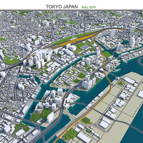 Tokyo city japan 3d model 100km