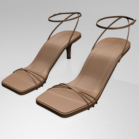Square-Toe Strappy Stiletto Sandals 02 - 3DOcean Item for Sale