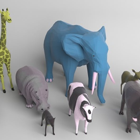 Pack of 9 low poly animals