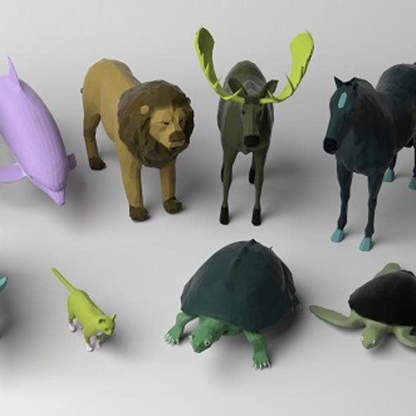 Low poly colored animals pack 2