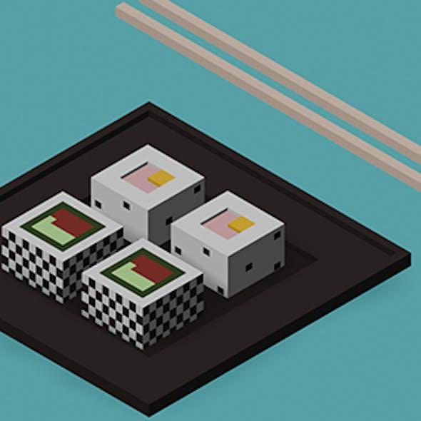 Low Poly Sushi, Chopsticks w/ Camera & Lighting Scene