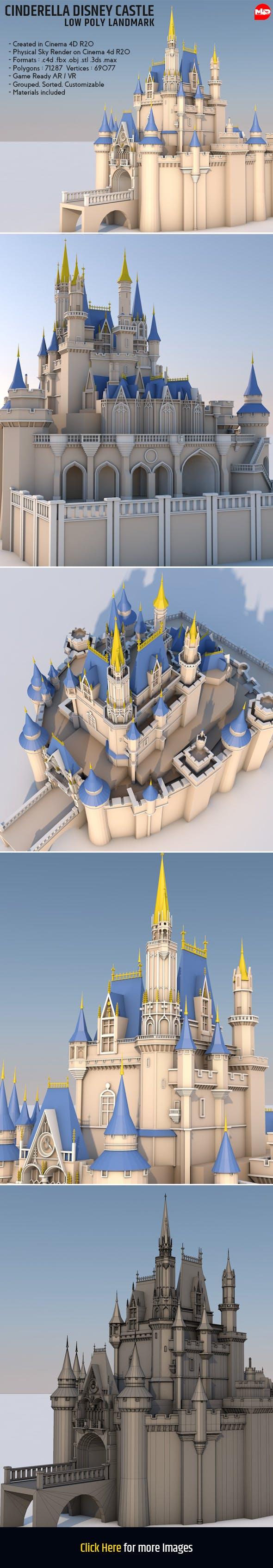 Low Poly Cinderella Disney Castle Landmark - 3DOcean Item for Sale