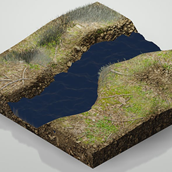 Low Poly Moat Lake River Grass Level w/Camera & Lighting Scene
