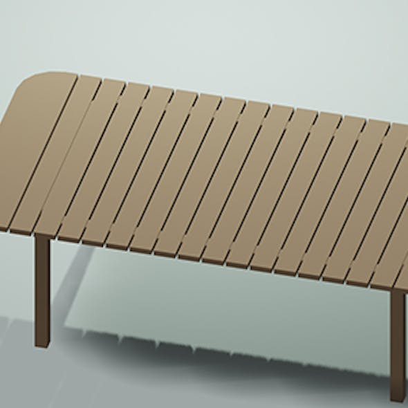 Low Poly Picnic Table Slated w/Camera & Lighting Scene