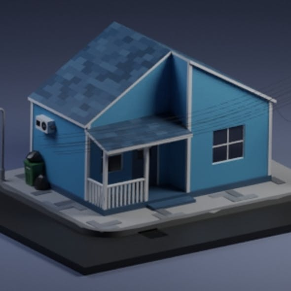 Low Poly Style - Blue House