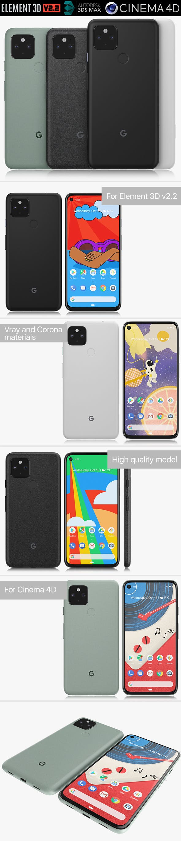 Google Pixel 5 and 4a 5G all colors - 3DOcean Item for Sale