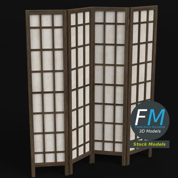 Wood and paper room divider - 3DOcean Item for Sale